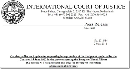 ICJ press release to Cambodia request